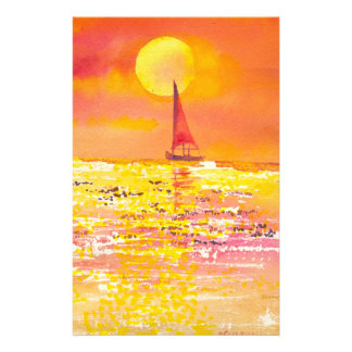 Het Briefpapier van de Zeilboot van de zonsonderga
