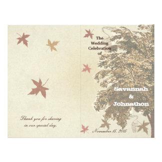 Het bruine Eiken Programma van het Huwelijk van de Flyer 21,6 X 27,9 Cm