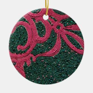 Het Canvas van Kerstmis Rond Keramisch Ornament