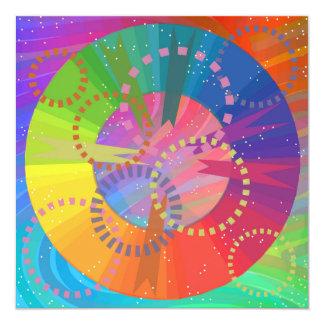Het cirkel-Streepje van de KLEUR Kaart 13,3x13,3 Vierkante Uitnodiging Kaart
