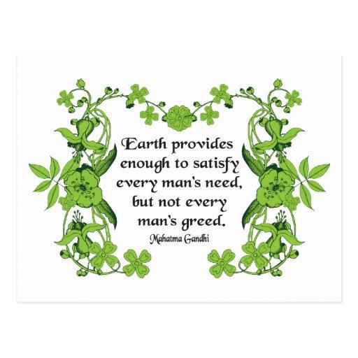 Citaten Gandhi : Het citaat van gandhi de aarde verstrekt genoeg wenskaart
