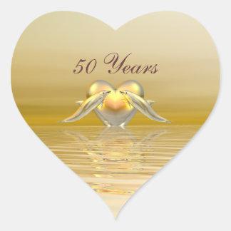 Het de gouden Dolfijnen en Hart van het Jubileum Hart Sticker