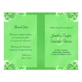 Het donkergroene BloemenProgramma van het Huwelijk Flyer