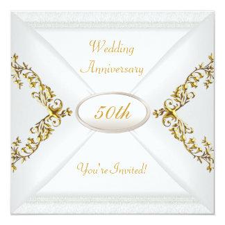 Het elegante 50ste Witgoud van het Jubileum van 13,3x13,3 Vierkante Uitnodiging Kaart