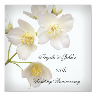 het Elegante BloemenWit van het 25ste Jubileum van 13,3x13,3 Vierkante Uitnodiging Kaart