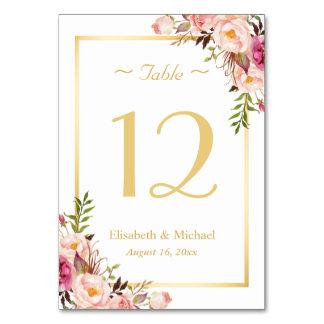 Het elegante Elegante Roze Bloemen Gouden Aantal Kaart