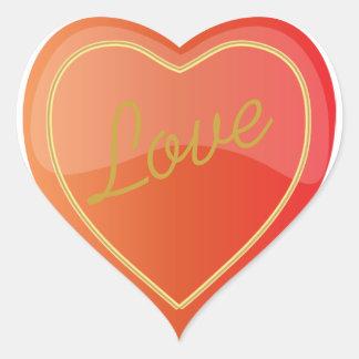 Het elegante Glanzende Heldere Oranje Hart van de Hartvormige Sticker