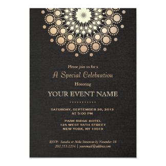 Het elegante Gouden Zwarte Linnen van het Motief 12,7x17,8 Uitnodiging Kaart