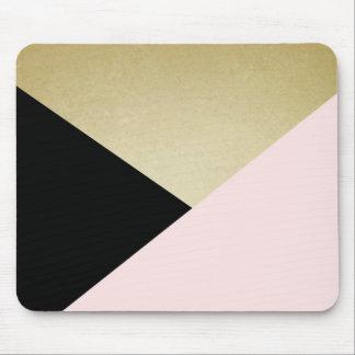 Het elegante Gouden Zwarte Roze Abstracte Muismatten