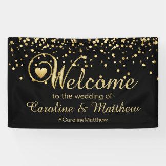 Het elegante Gouden Zwarte Welkome Huwelijk van Spandoek