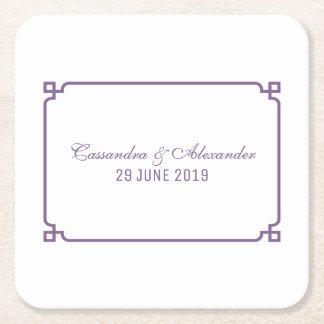 Het Elegante Huwelijk van paars Deco Vierkante Onderzetter