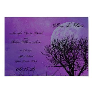 Het elegante Paarse Gotische Elegante Huwelijk 8,9x12,7 Uitnodiging Kaart