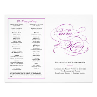 Het elegante Paarse Programma van het Huwelijk van Fullcolor Folder
