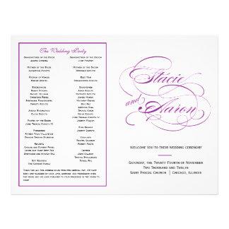 Het elegante Paarse Programma van het Huwelijk van Persoonlijke Folder