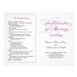 Het elegante Paarse Programma van het Huwelijk van Flyer 21,6 X 27,9 Cm
