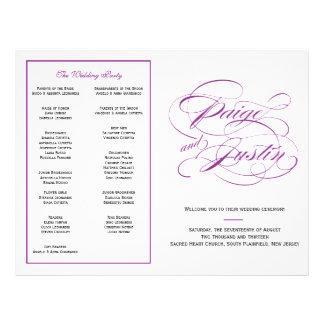 Het elegante Paarse Programma van het Huwelijk van Gepersonaliseerde Folder