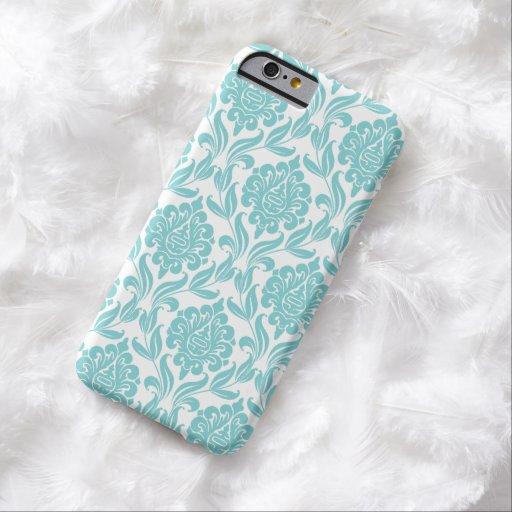 Het elegante Patroon van het Damast Aqua Barely There iPhone 6 Hoesje