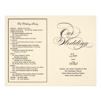 Het elegante Programma van het Huwelijk van het Ma Persoonlijke Folder