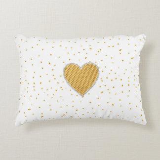 Het elegante romantische gouden hart faux accent kussen