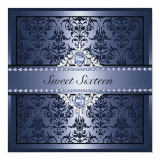 Het elegante Zwarte & Blauwe Damast Sweet16 nodigt Kaart