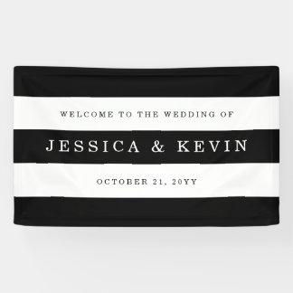 Het elegante Zwarte Huwelijk van Strepen Spandoek