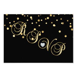 Het elegante Zwarte Jubileum van het Huwelijk van 8,9x12,7 Uitnodiging Kaart