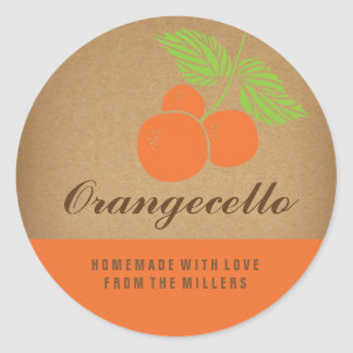 Het Etiket van Orangecello, ronde oranje sticker