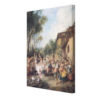 Het Feest van het huwelijk in het Dorp Canvas Afdrukken