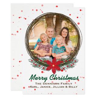 Het feestelijke Wenskaart van de Foto van Kerstmis 12,7x17,8 Uitnodiging Kaart