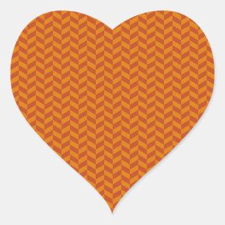 Het gebrande Oranje Patroon van de Strepen van de Hartvormige Sticker