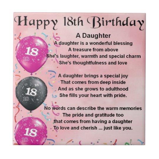 Verjaardag Dochter Gedicht.Het Gedicht Van De Dochter 18de Verjaardag Tegeltje