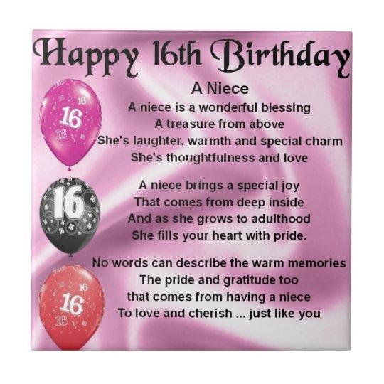 16de Verjaardag.Het Gedicht Van De Nicht 16de Verjaardag Tegeltje