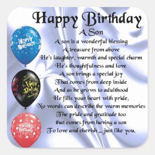 Het Gedicht Van De Zoon Gelukkige Verjaardag Vierkante Sticker