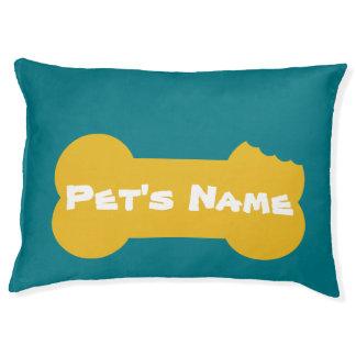 Het gele Gekauwde Been personaliseerde Groot Bed 3 Hondenbedden
