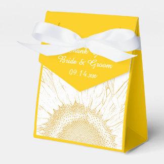 Het gele Grafische Huwelijk van de Zonnebloem Bedankdoosjes
