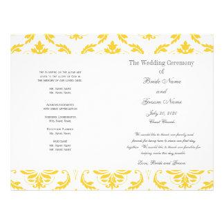 Het gele Grijze Vintage Programma van het Huwelijk Gepersonaliseerde Folder