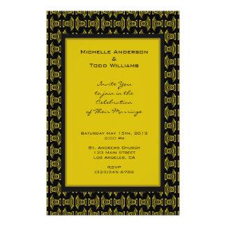 Het gele Zwarte Huwelijk van het Patroon Flyer 14 X 21,6 Cm