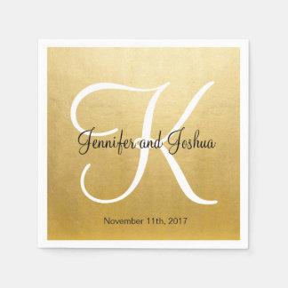 Het gepersonaliseerde Huwelijk Met monogram van de Papieren Servetten