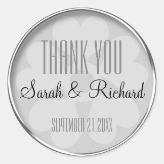 Het gepersonaliseerde Zilver dankt u Huwelijk Ronde Sticker