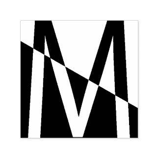 Het gewaagde Moderne Monogram M van de Kunst Zelfinktende Stempel