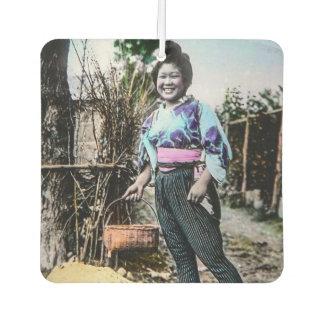 Het glimlachende Meisje van het Boerderij in Oud Auto Luchtverfrissers