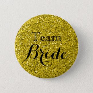 Het goud schittert de Bruid van het Team van het Ronde Button 5,7 Cm