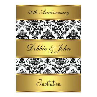 het Gouden Damast van de 50ste van het Huwelijk 16,5x22,2 Uitnodiging Kaart