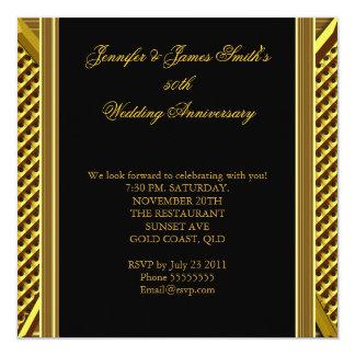 Het gouden Goud van het Huwelijk van het 50ste 13,3x13,3 Vierkante Uitnodiging Kaart