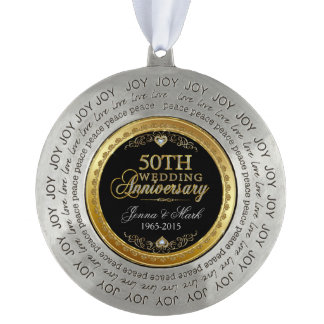Het gouden Jubileum van het Lijst & van het Rond Pewter Ornament