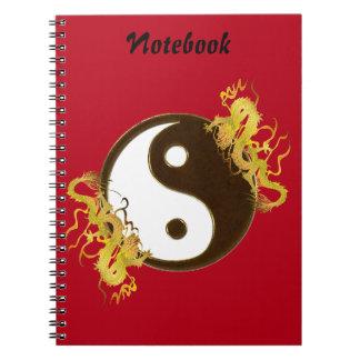 Het gouden Notitieboekje van Yin Yang van de Draak Ringband Notitieboek