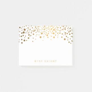 Het gouden Stip van Confettien met Naam Post-it® Notes