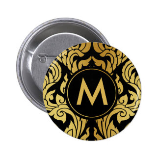 Het gouden Zwarte Moderne Thaise Monogram van Ronde Button 5,7 Cm