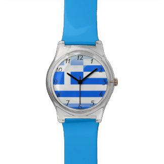 Het Grieks poetste blauw op en wit Polshorloge