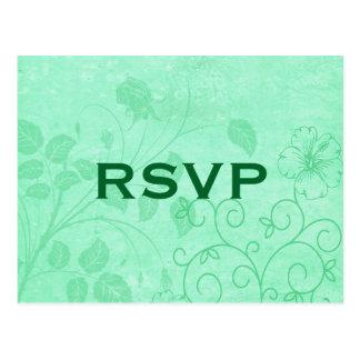 Het groene BloemenBriefkaart van de Werveling RSVP Briefkaart